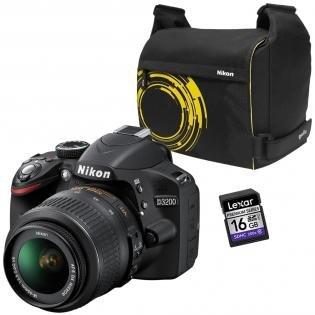Nikon D3200 Kit AF-S DX 18-55 VR SET, +Nikon Tasche +Lexar 16 GB SDHC