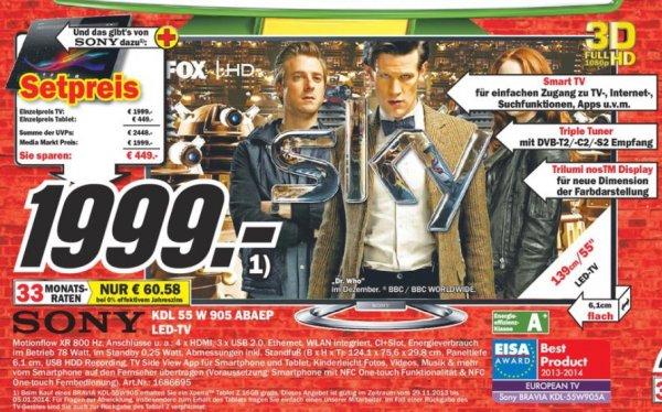 Sony KDL-55W905A + Sony Xperia Z Tablet für 1999€ LOKAL[MM Düsseldorf Bilk]