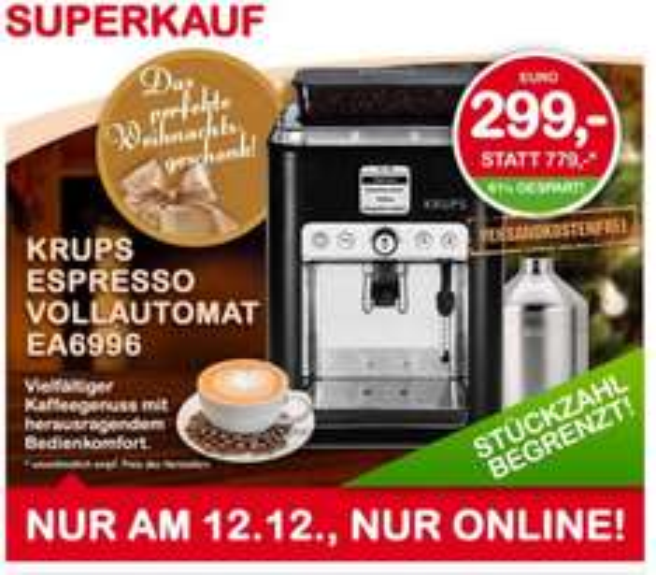 Krups Espresso Vollautomat EA6996 nur am 12.12.2013 bei Interspar.at