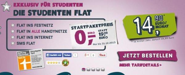 Für Studenten: Allnet-Flat SMS, Allnet-Flat Telefonie, 500MB Internet-Flat + gratis Samsung Galaxy S3 Min  nur 17,95€