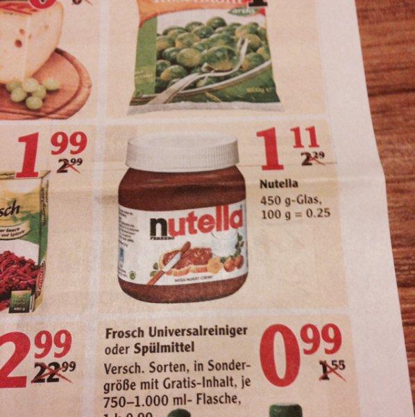 [Lokal] Nutella im Globus Lahnstein für 1,11€