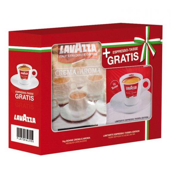 [wieder verfügbar] 5 x Lavazza Espresso Crema e Aroma ganze Bohnen 1000 g + 5 Espresso Tassenset für 44,95€