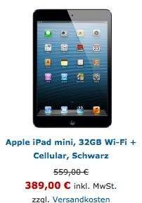 iPad mini 32GB WiFi+4G Cellular 17% unter idealo.de