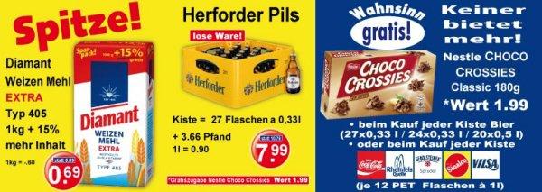 [Lokal @ K+K] Herforder Pils 27 x 0,33 l + Gratis-Zugabe (180g Choco Crossies)