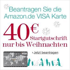 Amazon Kreditkarte mit 40 EUR Startgutschrift (bis Weihnachten, normal 30 EUR) - dank Bonusprogramm zusätzlich ca. 2% Rabatt auf Amazon-Einkäufe