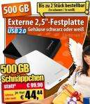 """Jetzt auch bei Pearl 2,5""""-USB-Festplatte 500GB nur 44,44 € + VSK"""
