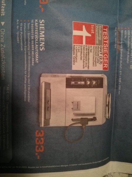 Siemens Kaffeevollautomat TE 503501 DE [lokal Saturn Bocholt] - 25%!