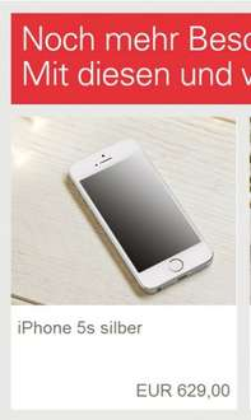Apple iPhone 5S 16GB silber 629€ am 15.12.13 auf eBaY