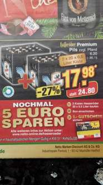 [Evtl. Lokal Bonn] 2x20x0.5L Hasseröder Pils bei Netto ohne Hund 16.-21.12.2013