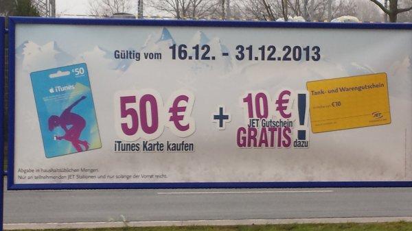[offline] 50€ iTunes Karte + 10€ Tankgutschein bei Jet für 50€