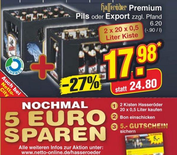 2 Kästen Hasseröder für 18€ + 5€ Einkaufsgutschein [Netto Markendiscount]