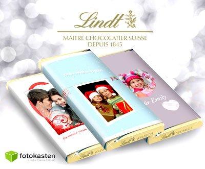 [Geschenkidee] 3 Tafeln Vollmilchschokolade von LINDT mit einem persönlichen Foto für 7,90€