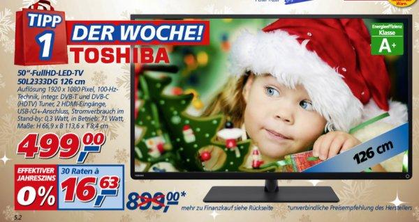 """[real,- Offline] 50"""" Toshiba FULL HD LED TV 50L2333DG -> 499€"""