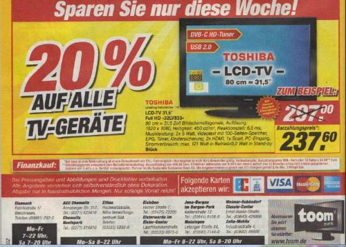20% Rabatt auf TV Geräte zb: 32LV833 Toshiba 237,60€ FullHD