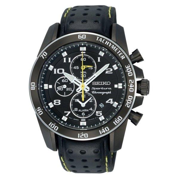Seiko Herren-Armbanduhr XL Sportura Alarm-Chronograph Chronograph Quarz Leder SNAE67P1 nur 254,24 Euro