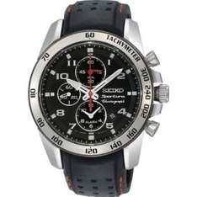 Seiko Herren-Armbanduhr XL Sportura Alarm-Chronograph Chronograph Quarz Leder SNAE65P1 nur 314.54 Euro