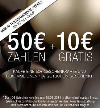 [Bundesweit lokal] s.Oliver 50€ Geschenkkarte + 10€ Geschenkkarte dazu