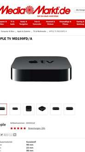 Apple Tv 3 für 77 Euro bei MediaMarkt
