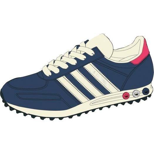 [Online] Adidas LA TRAINER, dark slate/silver/ecru - blau/silber/weiß, Damen Schuh, versch. Größen