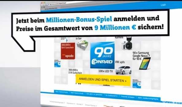 2x Freiklick für Conrad Millionen-Bonus-Spiel