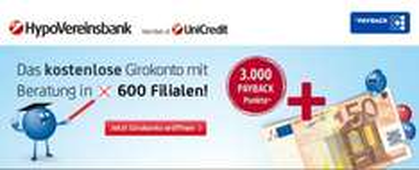Bedingungslos kostenloses Girokonto bei der Hypovereinsbank mit 50€ Startguthaben und 3000 Payback Pkt.