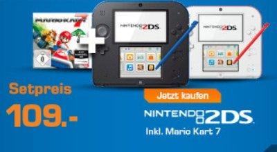 Nintendo 2DS (schwarz/blau oder weiss/rot) incl. Mario Kart 7 @ Saturn.de / offline und bei Amazon.de ab EUR 109,00
