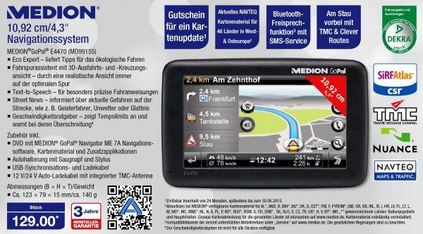 "MEDION E4470 EU GoPal 7.0 Navigationssystem 4,3""/10,92cm *NEU* A-WARE"