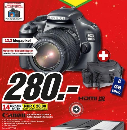 [MediaMarkt - Bundesweit] Canon 1100D EF-S 18-55mm IS II + 8 GB Speicherkarte + Canon Tasche