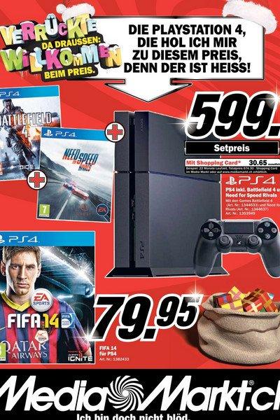 LOKAL | SCHWEIZ | Media Markt - Playstation 4 inkl. Battlefield 4 und Need for Speed Rivals für ca. 480 Euro
