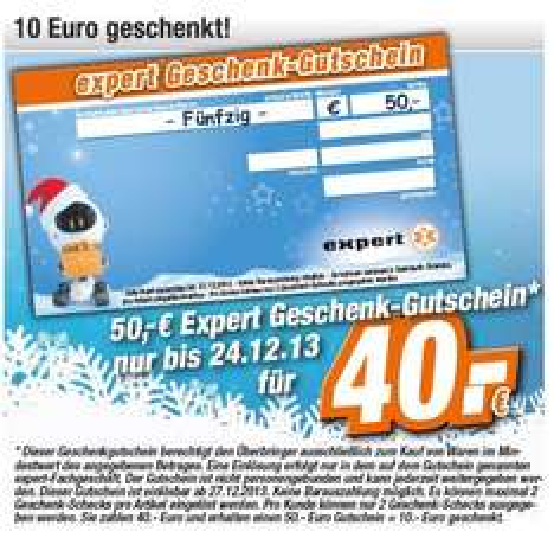 [Expert-lokal] 50€ Geschenkgutschein für 40€ - sogar 2x