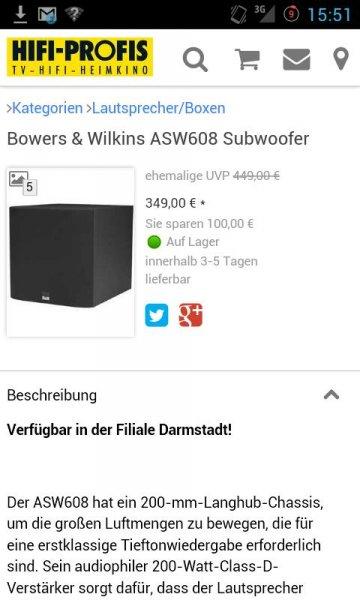 [Lokal Darmstadt] B&W ASW608 Subwoofer