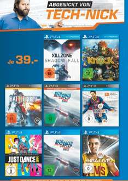 PS4 Games 39€ Killzone,Knack,Just Dance,NFS Rivals,NBA Live [Saturn Leverkusen LOKAL]