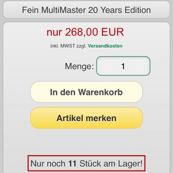 Fein Multimaster 20 Years Edition mit Sägeblattzugabe