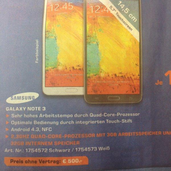 Samsung Galaxy Note 3, lokal saturn stuttgart 500€ (400€ mit cashback!)