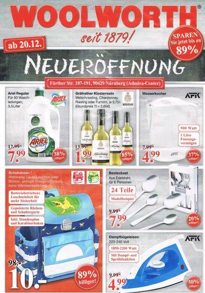 [Nürnberg] Woolworth Neueröffnung - Ariel Flüssigwaschmittel 3,5 L/50 W = 7,99€