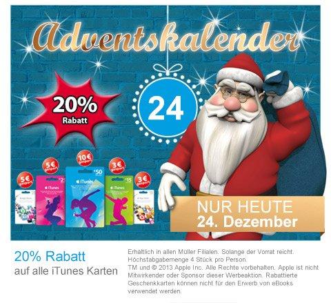 20% auf alle iTunes Karten - Erhältlich in allen }M{ Müller Filialen