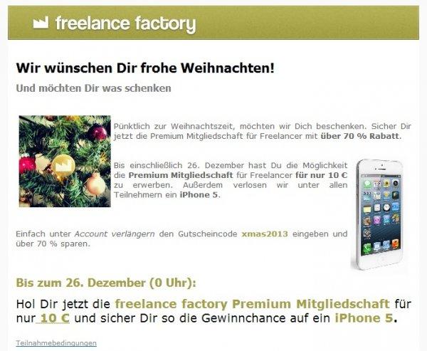 freelance factory Premium Mitgliedschaft 70 % günstiger + Gewinnchance auf ein iPhone 5!