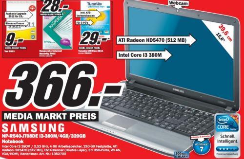 """Media Markt Leipzig: Samsung R540 (15"""" *matt*, i3-380M, 4GB, 320GB, HD5470 512MB, Win7) für 366€"""