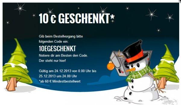 MZEE 10€ Rabatt, 60€ Mbw, nur heute (24.12.2013)