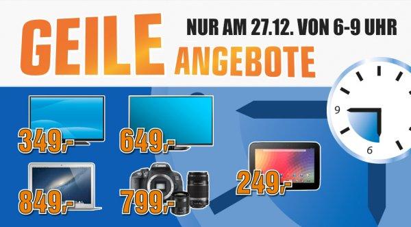 Raus aus den Federn am 27.12, fünf Angebote Lokal bei Saturn Österreich. MacBook Air um € 849, LG 60 Zoll Plasma-TV um € 649 , Nexus 10.1 Tablet um € 249,-, Toshiba L1343 für € 349,-, Canon EOS 700D um € 799,
