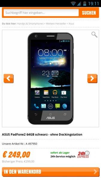 ASUS PadFone2 64GB schwarz - ohne Dockingstation