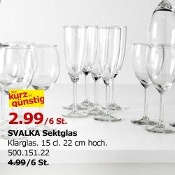 6 Sektgläser bei IKEA für 2,99€  - Deutschlandweit solange der Vorrat reicht