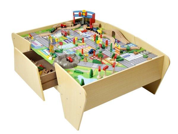 [Amazon.co.uk] Großer Kinder Holzspieltisch,125 x 80 x 45 cm mit 140 teiligen Holzzubehör