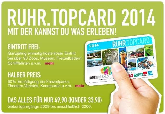 Freier Eintritt mit Ruhr Topcard: Erlebnisbäder/Wasserski/Museen usw. p.P ab 44€ + 2,50€ Einmalig  (ADAC Mitgl.) im Jahr