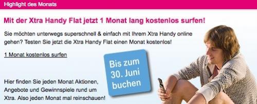 1 Monat kostenlos Surfen T-Mobile Xtra