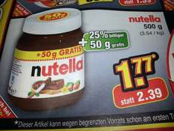 Nutella (Offline) Netto Bundesweit 500 g für 1,77 €