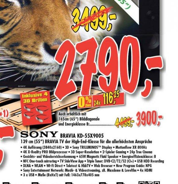 Sony KD55X9005  4K Fernseher für 2790€ im Technoland Deizisau