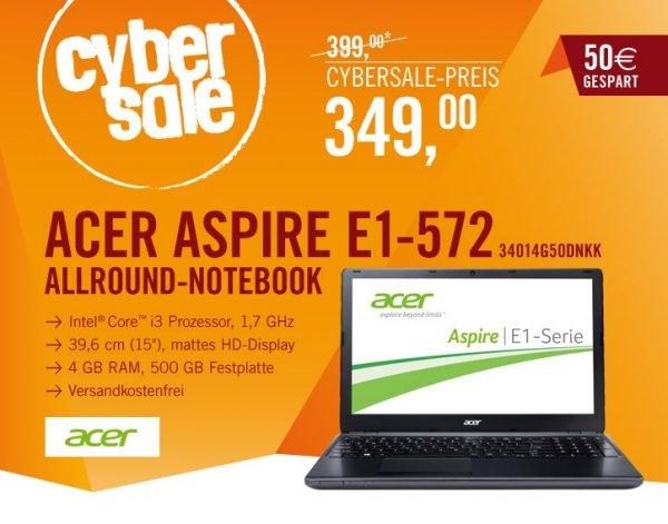 """Acer Aspire E1-572-34014G50Dnkk für 349€ - 15,6"""" NB mit mattem Display, i3-4010U CPU, 4GB RAM und 500GB HDD oder mit FullHD Display für 399€"""