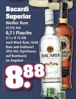 Bacardi 0,7l für 8,88 EUR bei trinkgut