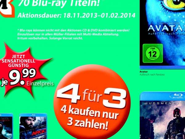 [Offline] Drogerie Müller 4für3 BluRay od. DVD 70Titel